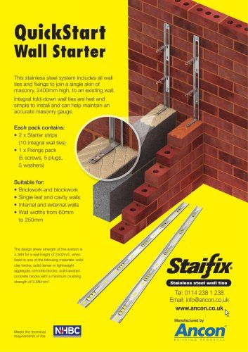 Ties /& Fixings Catnic  FREE DELIVERY Stainless Steel 4 x Wall Starter Kits